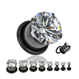 Black Titanium Anodized Hollow Prong-Set Gem Tunnel with O-ring (Sold Individually)