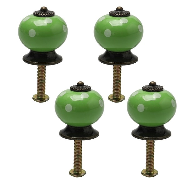 4pcs Ceramic Knobs Vintage Pull Handle Furniture Drawer Cabinet Cupboard Wardrobe Dresser Door Knob Accessories Green