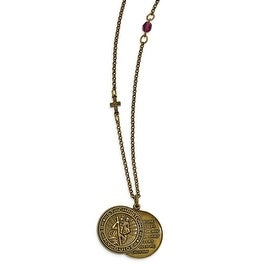 Brass St. Christopher/Travelers Prayer Two Piece Necklace - 36in
