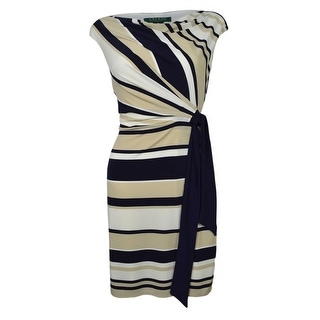 Lauren Ralph Lauren Women's Cowl Striped Belted Jersey Dress - 2