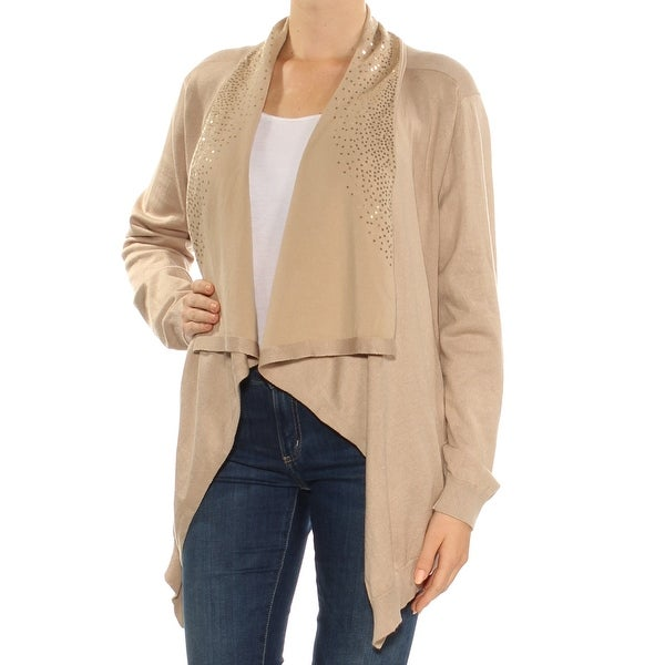 c7634e1e84080b Shop DKNY Womens Beige Sequined Long Sleeve Open Cardigan Sweater Size: M - Free  Shipping On Orders Over $45 - Overstock - 27763960
