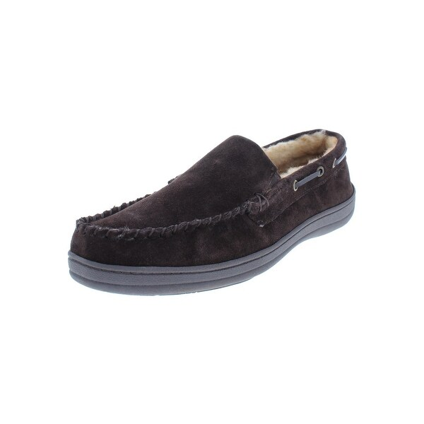5e53a069aa10 Shop Rockport Mens Moccasin Slippers Suede Faux Fur - Free Shipping ...