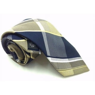 Michael Kors NEW Yellow Blue Mens One Size Forest Plaid Silk Neck Tie