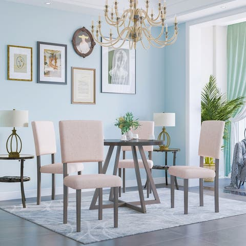 5-Piece Wood Kitchen Dining Set with Round Table&4 Upholstered Chair