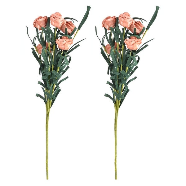 Home Desktop Foam Handicraft Emulational Artificial Rose Bouquet Flower Orange 2pcs