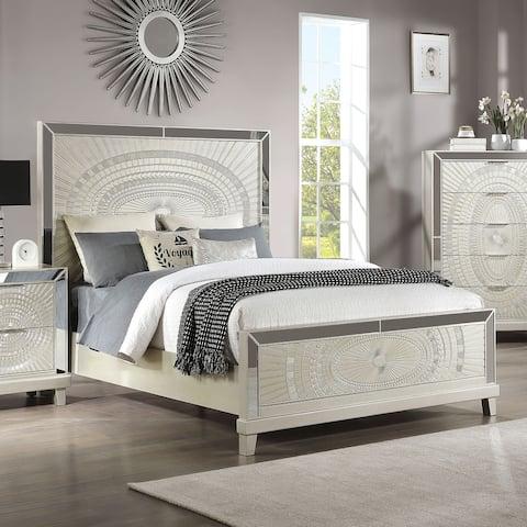 Furniture of America Luela Glam Champagne Decorative Pattern Bed