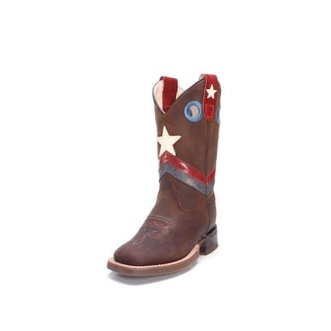 Old West Cowboy Boots Boys Chevron Details Leather Brown