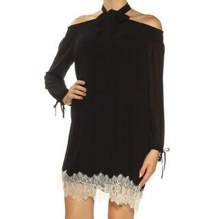Womans Black Cold Shoulder Lace Long Sleeve Above The Knee Shift Dress Size: M