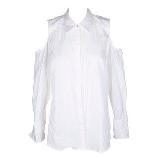 Lauren Ralph Lauren White Cotton Cold-Shoulder Button Down Poplin Shirt XXL