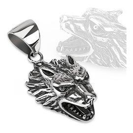 Fierce Wolf Cast Stainless Steel Pendant (33 mm Width)