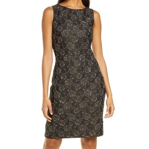 Donna Ricco Womens Dress Black Size 14 Sheath Floral Metallic Print