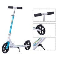 Goplus Foldable Aluminum Adults Kids Kick Scooter Height Adjustable w Kickstand Blue