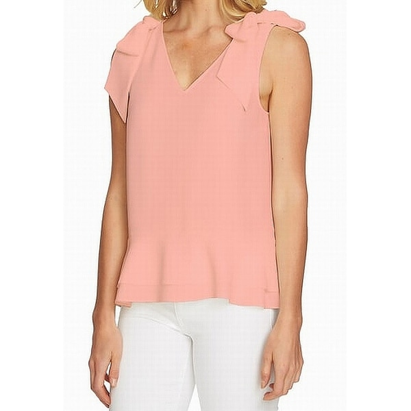 d8adfca7c27ef Shop CeCe Pink Women s Size XL Tie Sleeve High Low V-Neck Blouse - On Sale  - Free Shipping On Orders Over  45 - Overstock - 26956703