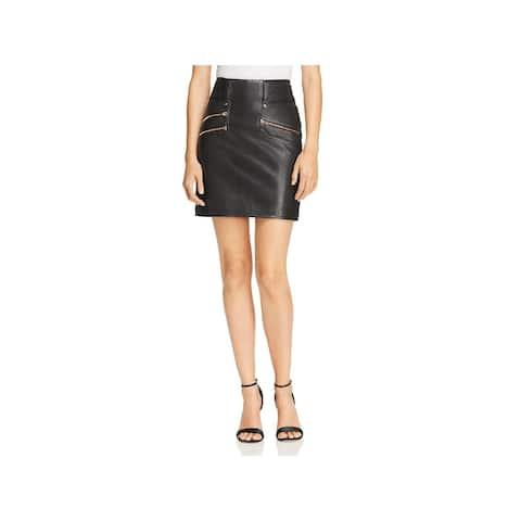 Hudson Womens Mini Skirt Lambskin Leather High-Waist