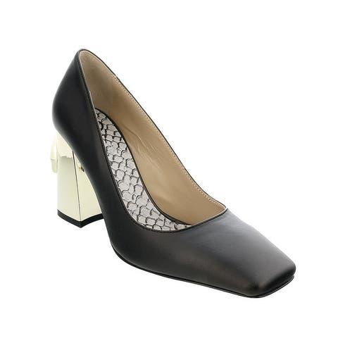 Roberto Cavalli Class Black/Gold Leather Square Toe Block High Heel Pump-
