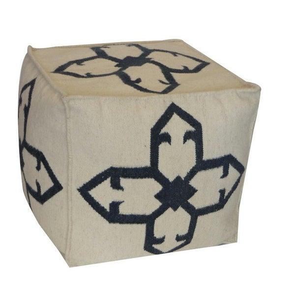 Vivai Home White Cross Square 22x 22x22 Wool Cotton Ottoman Cushion