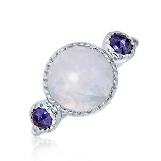 Bling Jewelry Round Rainbow Moonstone Iolite Modern Hammered 925 Silver Ring - Purple