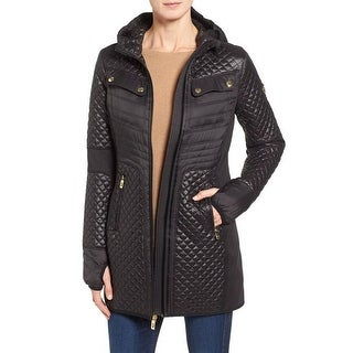Michael Michael Kors Black Mixed Media Coat