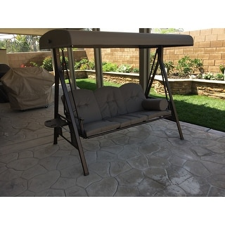 Abba Patio 3 Seat Outdoor Polyester Canopy Porch Swing Hammock with Steel Frame and Adjustable Canopy ...  sc 1 st  Overstock.com & Abba Patio 3 Seat Outdoor Polyester Canopy Porch Swing Hammock ...