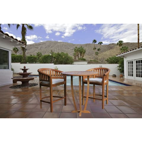 "Chic Teak 3 Piece Peanut Teak Wood Patio Bistro Bar Set, 2 Bar Chairs and 35"" Round Miami Bar Table"