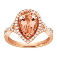 2 1/2 ct Simulated Morganite Ring with Cubic Zirconia in 14K Rose Gold-Plated Sterling Silver - Pink