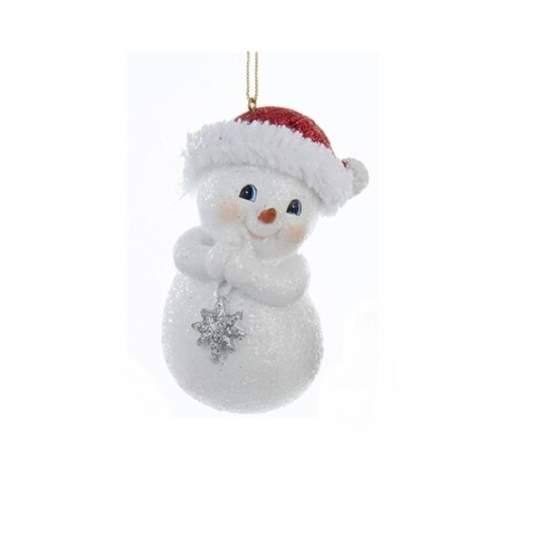 "3.75"" Decorative Chubby Snowman in Red Santa Hat Hanging Christmas Ornament"