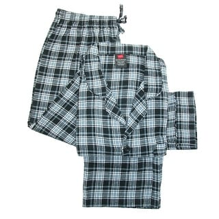 Hanes Men's Big and Tall Cotton Flannel Pajama Set - Green - 3X