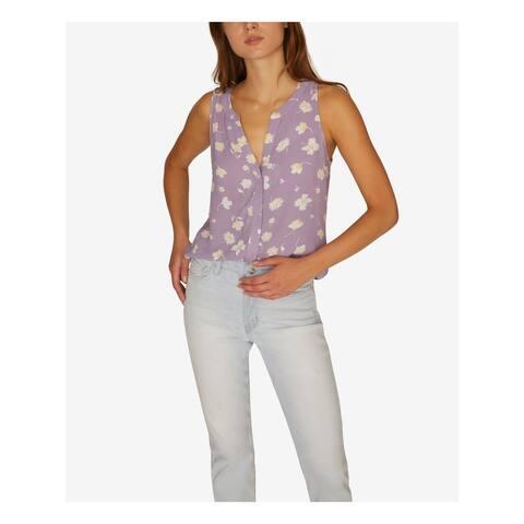 SANCTUARY Womens Purple Floral Sleeveless V Neck Hi-Lo Top Size XL