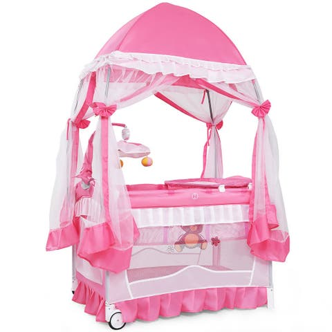 Costway 4 in 1 Portable Baby Playard Crib Bassinet Bed w/Changing