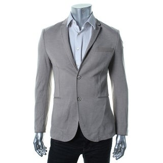 Zara Mens Pindot Contrast Trim Two-Button Blazer