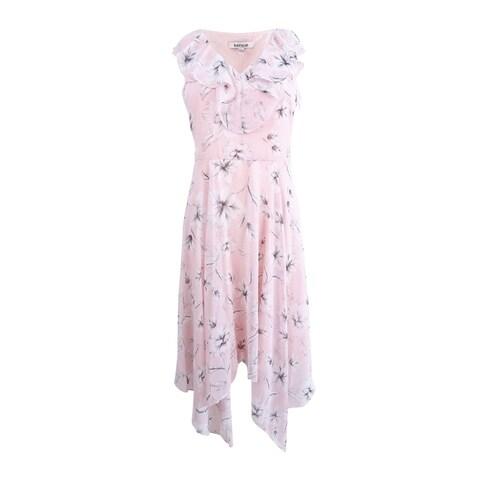 kensie Women's Floral-Print Ruffle Handkerchief-Hem Dress - Blush Multi