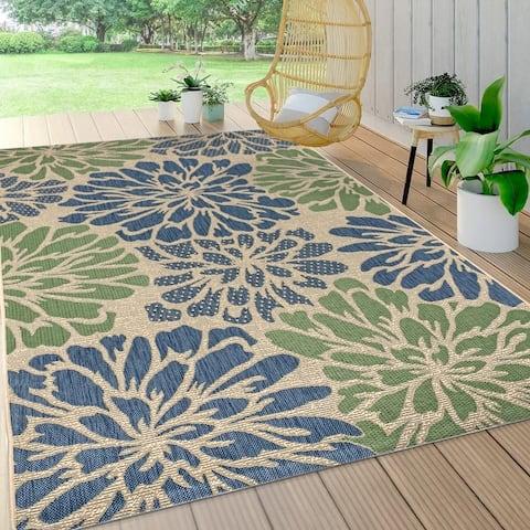 JONATHAN Y Zinnia Modern Floral Textured Weave Indoor/Outdoor Area Rug