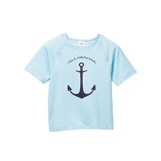 Azul Little Boys Light Blue Anchors Aweigh Short Sleeve Rash Guard