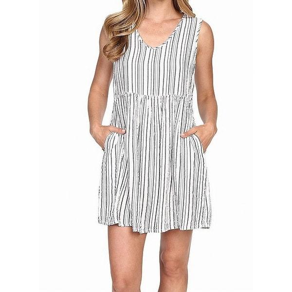 1c520773f6c Allen Allen White Womens Size Large L Babydoll Striped Shift Dress