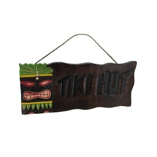 Tropical Island Colorful Hand Carved Wooden Tiki Hut Wall Sign - brown