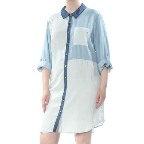 TOMMY HILFIGER Womens Blue Patchwork Denim 3/4 Sleeve Collared Above The Knee Shirt Dress Dress Plus Size: 20W