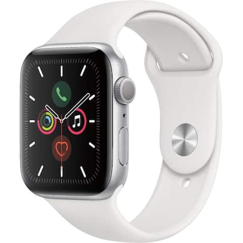Apple Watch Series 5 (GPS) 44mm Silver Aluminum Case with White Sport Band - Silver Aluminum