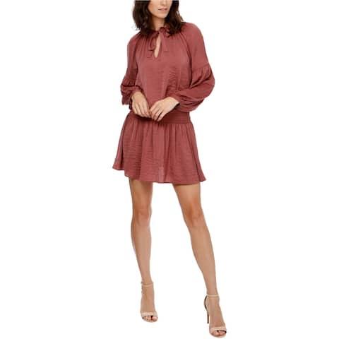 Lucky Brand Womens Tie-Neck Drop Waist Dress, Pink, Large