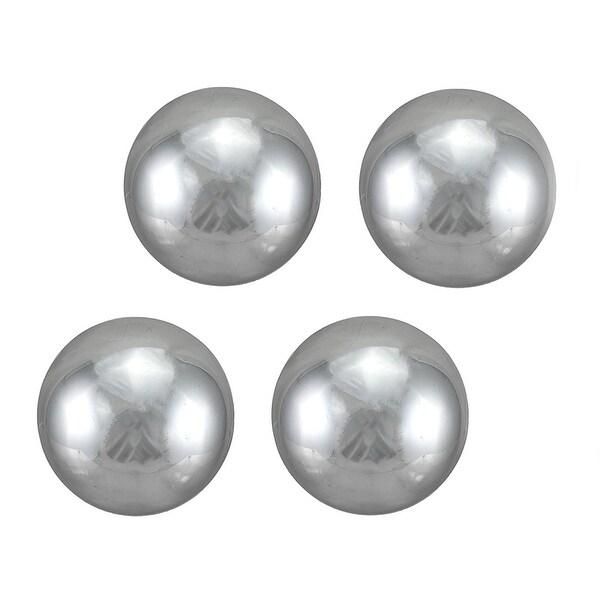 Shop Set Of 40 Mirror Finish Decorative Balls Metallic Silver Glass New Black And White Decorative Balls