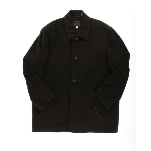 Cole Haan Mens Pea Coat Wool Leather Trim