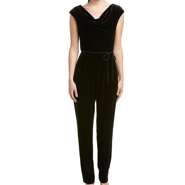 ec80c4c189 Shop Eliza J Black Women's Size 16 Draped Neck Tassle Belt Jumpsuit ...