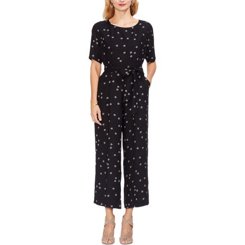 Vince Camuto Womens Jumpsuit Floral Elbow Sleeves