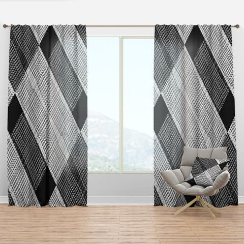 Designart 'Black and White Check Stipes Pattern' Modern & Contemporary Curtain Panel