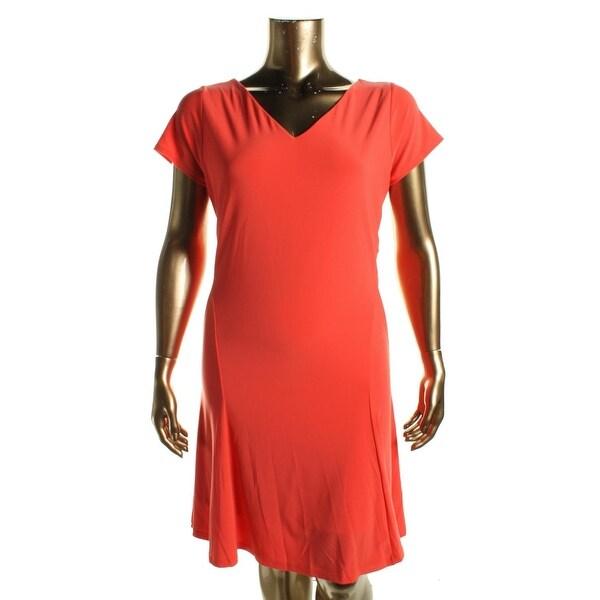 Lauren Ralph Lauren Womens Plus Casual Dress Matte Jersey Short Sleeves