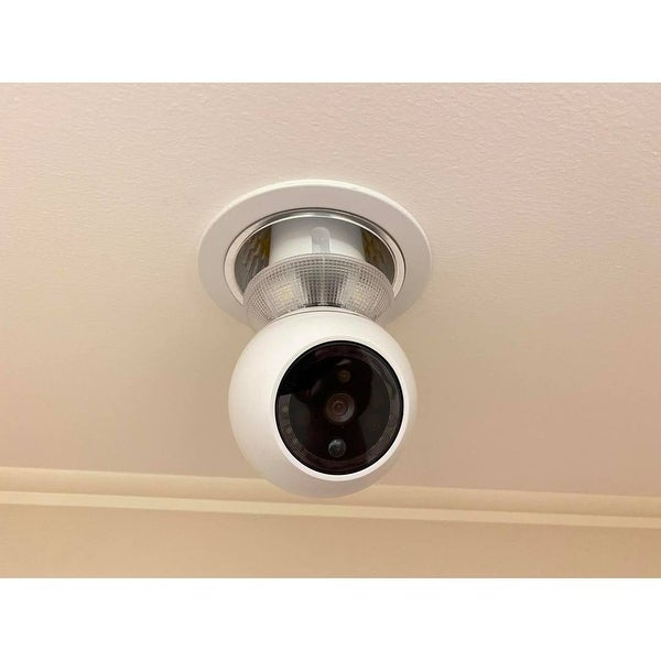 Amaryllo Zeus: Biometric Auto Tracking Light Bulb PTZ Wi-Fi Security Camera with Face Recognition, Night Vision - White