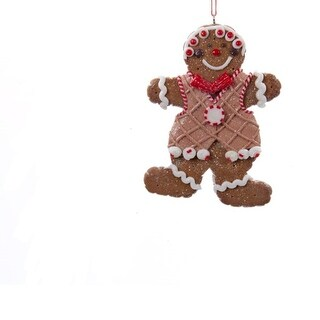 """3.75"""" Red and White Gingerbread Kisses Boy Cookie Christmas Ornament - Brown"""