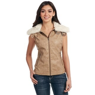 Cripple Creek Western Vest Womens Buckle Faux Fur Collar Zip