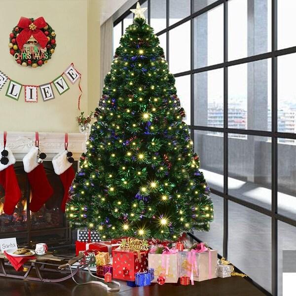 7 5 Fiber Optic Christmas Tree: Shop Costway 7' Pre-Lit Fiber Optic Artificial Christmas