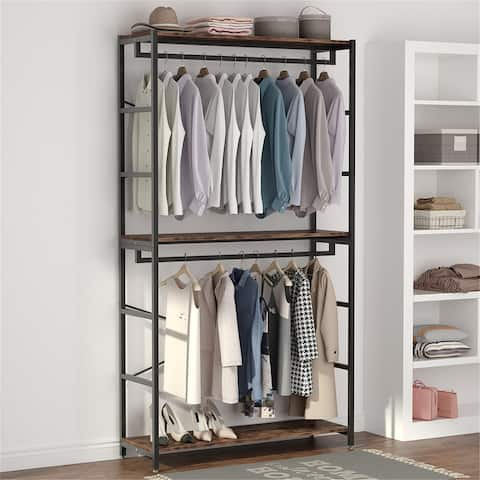 Double-Rod Clothes Rack Closet Organizer System 47 inches