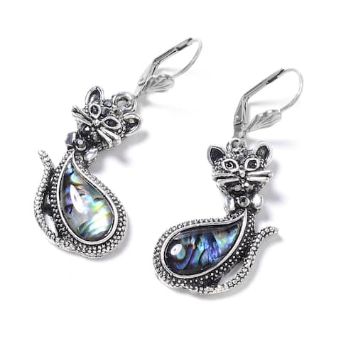925 Sterling Silver Stainless Steel Abalone Shell Crystal Earrings